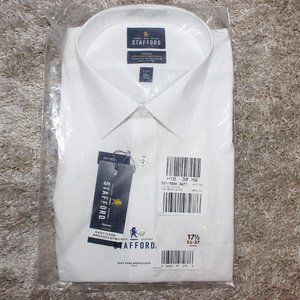 NWT Stafford White LS Dress Shirt 17.5 (36-37)